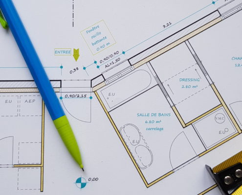 Plan d'architecture, détail, création et conception en bureau d'étude à Fay de Bretagne (44)