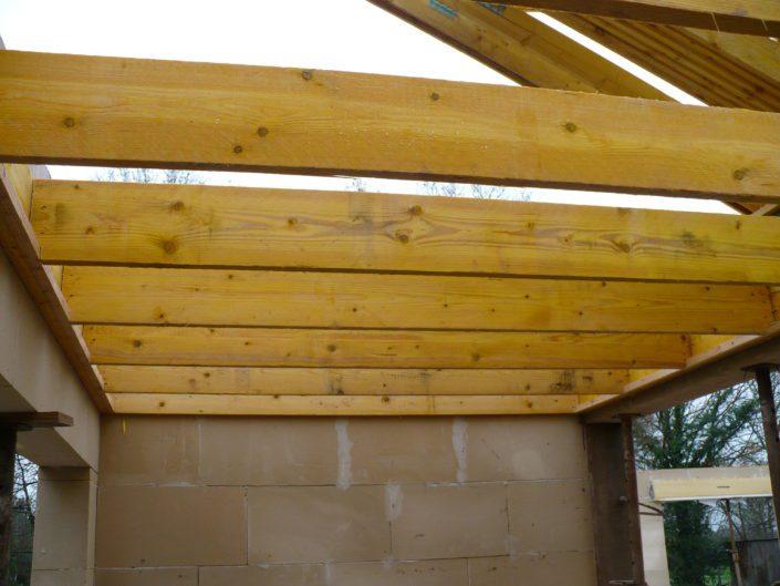 Extension en agglo cellulaire isolant, charpente traditionnelle, terrasse EPDM en sapin traité à Sucé Sur Erdre (44)