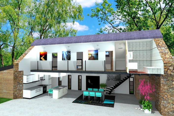 Rénovation d'un étage en pierre avec ardoise naturelle, cuisine ouverte 3D après, à Guenrouët (44)