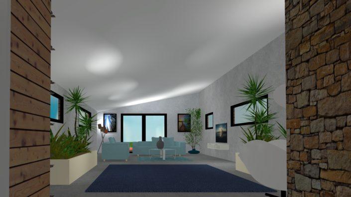 Rénovation d'un salon ambiance cosi en 3D à Nort Sur Erdre (44)