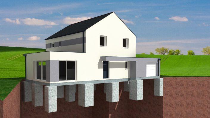 L'étude de sol et l'étude de structure ont permis de dimensionner les fondations réalisées en puits et longrines